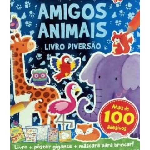 Livro De Diversao Amigos Animais - Kit Com 1 Livro De Colorir De 12 Paginas  2 Folhas De Adesivos  1 Mascara  1 Poster429986.3